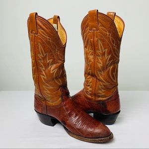 Vintage Nocona Lizard & Leather Cowboy Boots